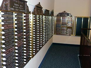 Our wall of yahrzeit memorial plaques.