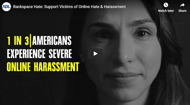 "Click for more information and to view the video: ""Backspace Hate: Support Victims of Online Hate & Harassment"""