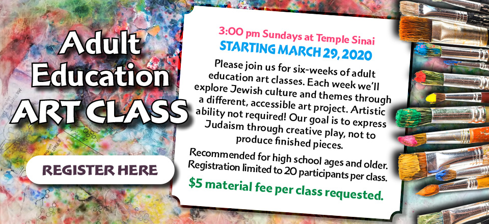 Adult Education Art Class at 3:00 pm Sundays for 6 weeks starting March 29. 2020. Click to register.