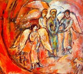 Abraham and the Angels (Marc Chagall)