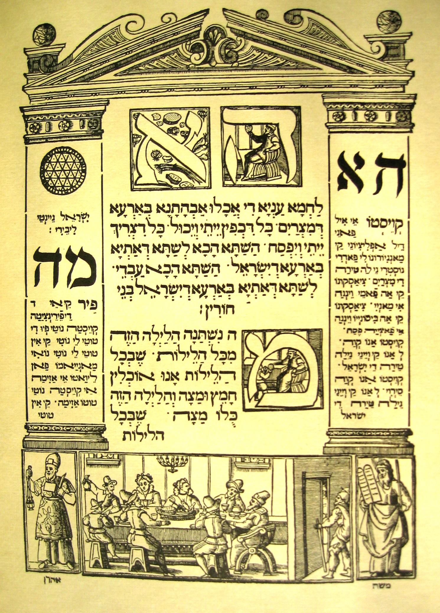 First page of haggadah text (Venice Haggadah)